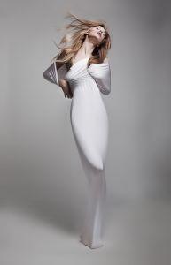 white dress model