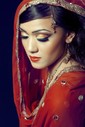 Indian Lady Red Make Up