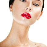 young beautiful woman. perfect skin. red lipstick.