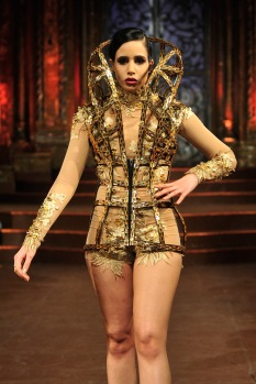 NEW YORK, NY - FEBRUARY 17: A model walks the runway at Rocky Gathercole - Art Hearts Fashion NYFW Fall/Winter 2016 at The Angel Orensanz Foundation on February 17, 2016 in New York City. (Photo by Kris Connor/Getty Images For Art Hearts Fashion)